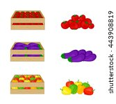 vegetables in wooden boxes... | Shutterstock .eps vector #443908819