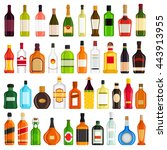 alcoholic drinks bottles large... | Shutterstock .eps vector #443913955