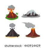 volcano magma nature blowing up ... | Shutterstock .eps vector #443914429