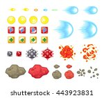miscellaneous items game... | Shutterstock .eps vector #443923831