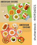 american cuisine with hot dogs... | Shutterstock .eps vector #443926021