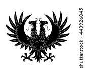 double headed black eagle... | Shutterstock .eps vector #443926045