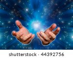 open male hands against a space background - stock photo