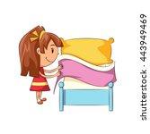 girl making bed  vector...   Shutterstock .eps vector #443949469