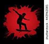 skateboarders jumping designed... | Shutterstock .eps vector #443962081