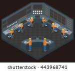 control center room and working ... | Shutterstock .eps vector #443968741