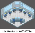 control center room and working ... | Shutterstock .eps vector #443968744