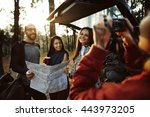 camping friendship backpacker... | Shutterstock . vector #443973205
