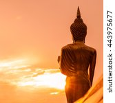Golden Buddha Statue Standing...