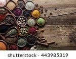 dry colorful spices in bowls... | Shutterstock . vector #443985319