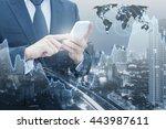 double exposure of businessman...   Shutterstock . vector #443987611