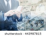 double exposure of businessman... | Shutterstock . vector #443987815