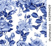 watercolor pattern with peony... | Shutterstock . vector #443994409