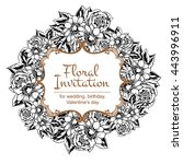 invitation with floral... | Shutterstock . vector #443996911