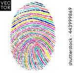 colorful fingerprint  finger... | Shutterstock .eps vector #443999869