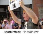Small photo of NEW YORK CITY - JUNE 26 2016: The 46th annual NYC Pride March featured over 350 contingents, marching from 36th Street to Christopher & Greenwich Sts. Donald Trump spoof mask