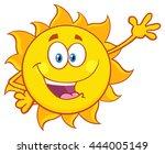smiling sun cartoon mascot... | Shutterstock . vector #444005149