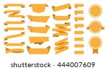 yellow flat ribbons set | Shutterstock .eps vector #444007609