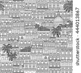 hand drawn seamless pattern of... | Shutterstock .eps vector #444013867