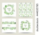 set of four square herbal card... | Shutterstock .eps vector #444035785