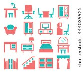 furniture  cabinet icon set | Shutterstock .eps vector #444039925