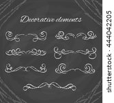 hand drawn divders set. chalk... | Shutterstock .eps vector #444042205