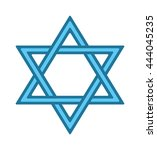 shalom hebrew blue jew star of... | Shutterstock .eps vector #444045235