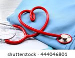 red stethoscope and medical... | Shutterstock . vector #444046801
