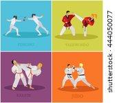 vector set of martial arts... | Shutterstock .eps vector #444050077