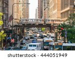 traffic in downtown chicago... | Shutterstock . vector #444051949
