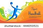 handball player sport game...   Shutterstock .eps vector #444053521