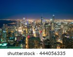 aerial view of chicago downtown ... | Shutterstock . vector #444056335