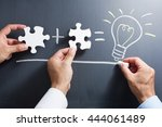 solving puzzle together.... | Shutterstock . vector #444061489
