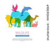 Wildlife animals and birds flat colorful silhouettes composition poster with elephant lion eagle and camel vector illustration