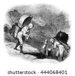 alpine peasants returning to... | Shutterstock . vector #444068401