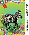 vector illustration of zebra in ... | Shutterstock .eps vector #444076747