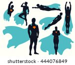 superhero different action... | Shutterstock .eps vector #444076849