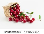basket of fresh sour cherries | Shutterstock . vector #444079114