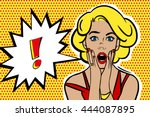 pop art surprised blonde woman... | Shutterstock . vector #444087895