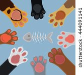cats cartoon paw set and fish... | Shutterstock .eps vector #444091141