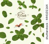 Mint Tea Seamless Pattern With...