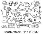 sport themed doodle | Shutterstock .eps vector #444110737