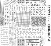 monochrome seamless pattern ... | Shutterstock .eps vector #444113119