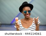 young black woman with hat ... | Shutterstock . vector #444114061