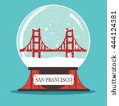 snow globe san francisco | Shutterstock .eps vector #444124381