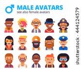 set of  cool male avatars.... | Shutterstock .eps vector #444124579