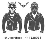 set of motorcycle biker vintage ... | Shutterstock .eps vector #444128095