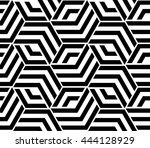 Stock vector abstract geometric pattern with lines rhombuses a seamless background black and white texture 444128929