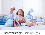happy kids playing in white... | Shutterstock . vector #444131749