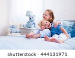 happy kids playing in white... | Shutterstock . vector #444131971
